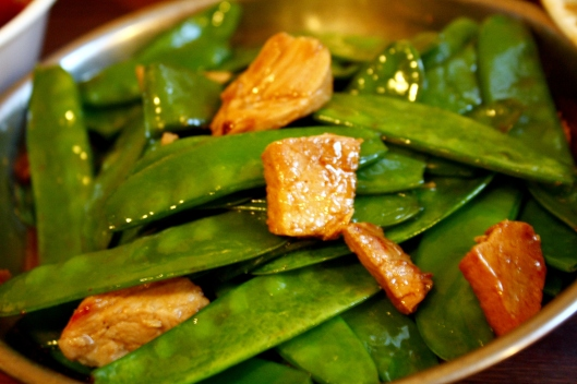 Pork with snowpeas