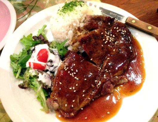 Japanese beef teriyaki with rice and house salad