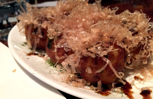 Takoyaki - fried dough with octopus.